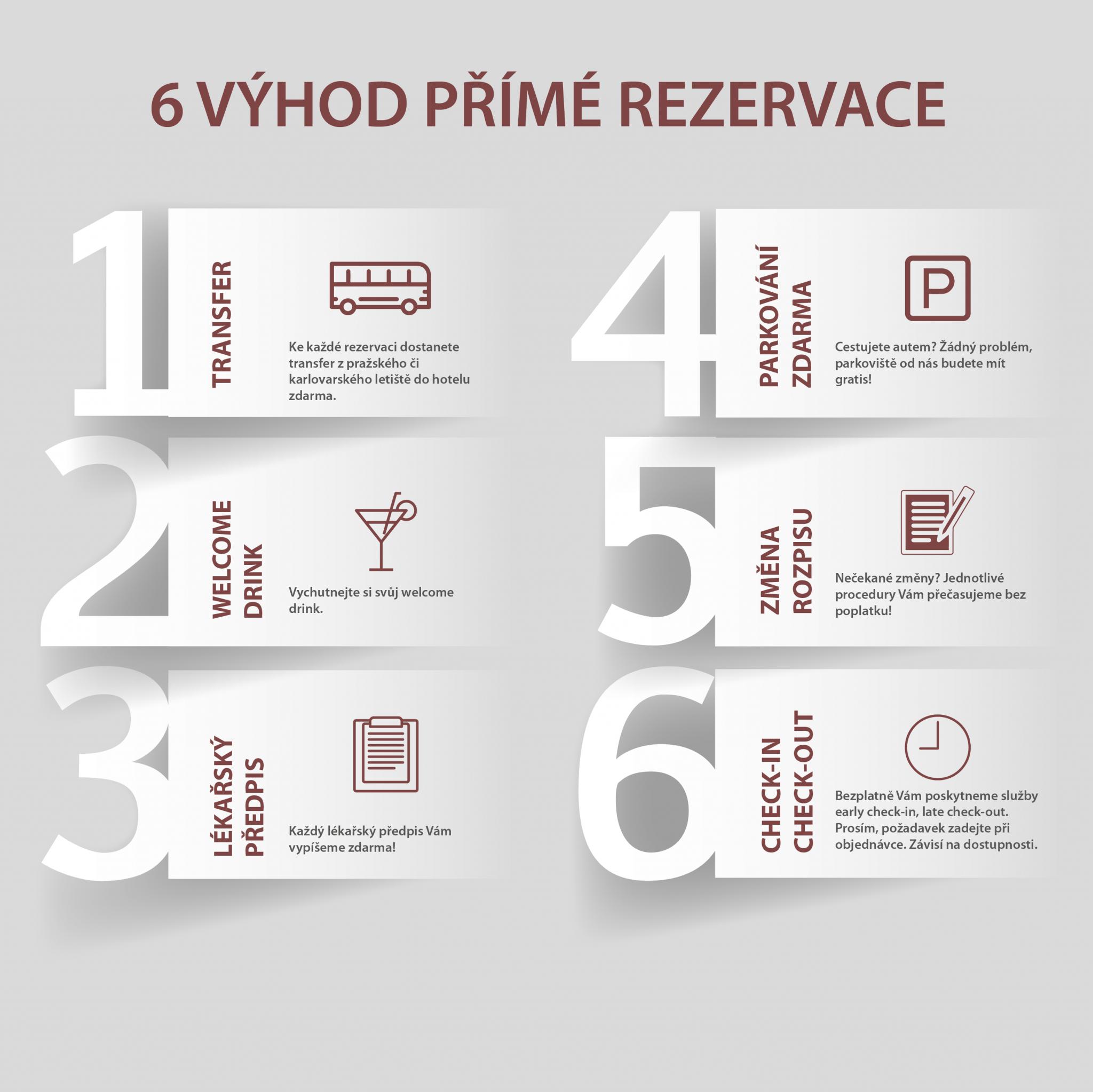 Výhody přímé rezervace - Lázeňský hotel Pavlov Karlovy Vary