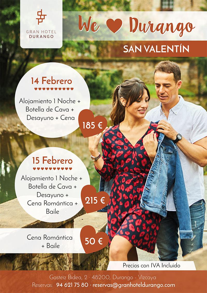 Escapada romántica San Valentín en Durango el 14 y 15 de febrero 2020, alojamiento + cena romántica